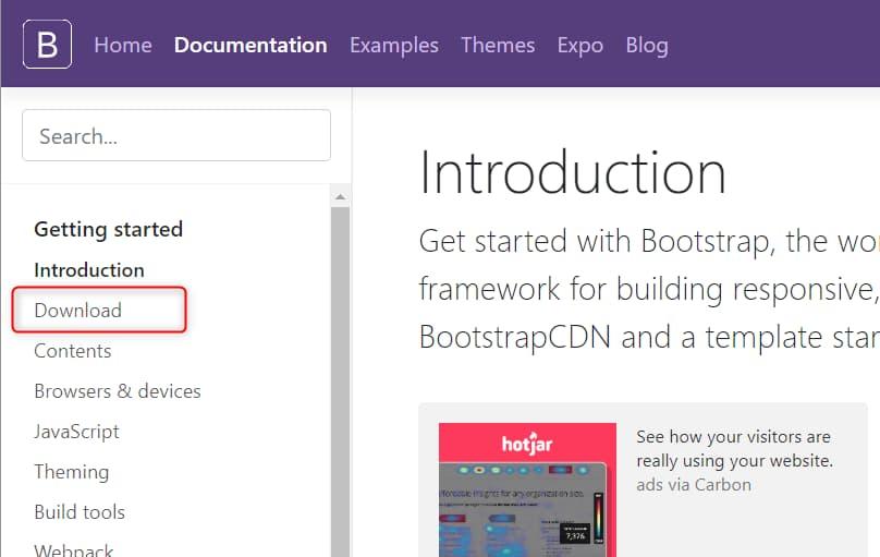Bootstrapのダウンロード